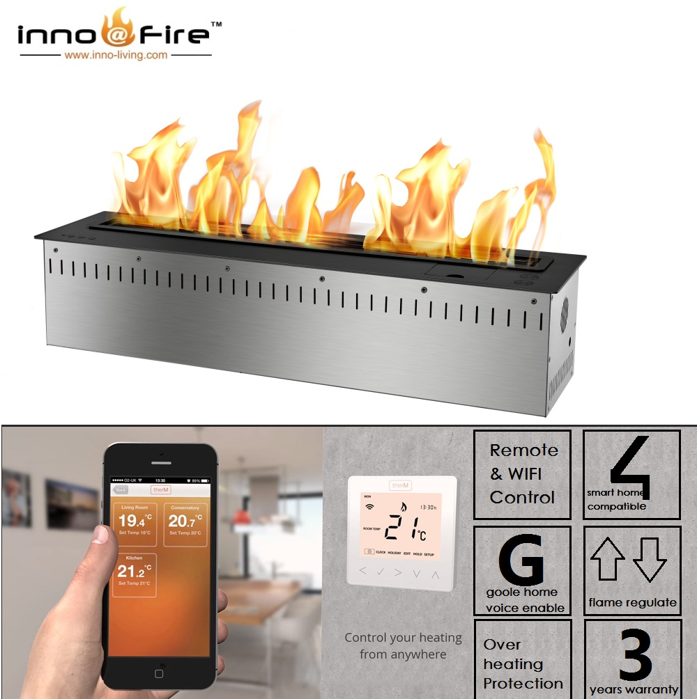 Hot Sale 36 Inches Indoor Insert Remote Fireplace Stainless Steel Smart Ethanol Burner