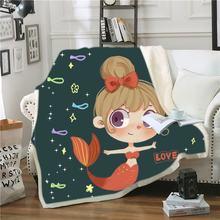 Шерстяное одеяло для девочек с рисунком Русалочки детское Флисовое