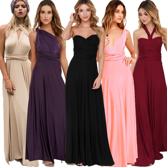 Ladies Sexy Women Maxi Club Dress Bandage Long Party Multiway Swing Convertible Infinity Red Bridesmaids Boho Dresses Plus Size 1