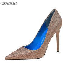 UMMEWALO High Heels Shoes Women Sequined Cloth Pointed Toe P