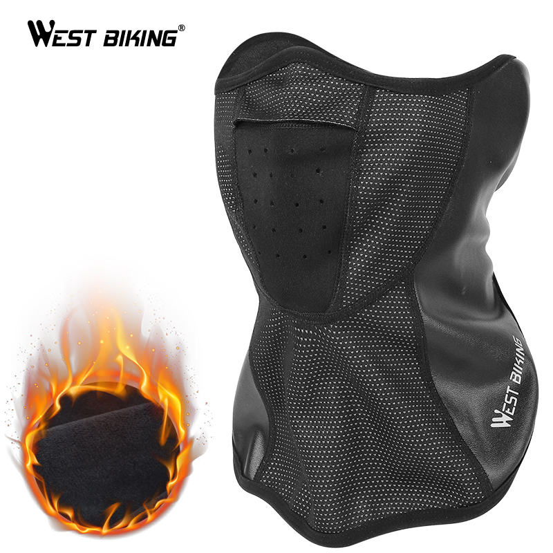 WEST BIKING Winter Cycling Mask Half Face Cover Warm Fleece Face Protection Cycling Ski Sports Outdoor Neck Guard Scarf Mask