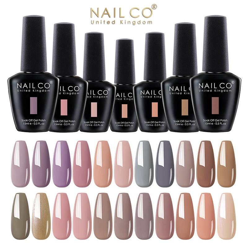 NAILCO 15ml Nude Colors Series LED Gel Nail Polish Vernis Kit UV Nails Gellak DIY 2021Autumn Winter Nail Art Manicure Design Set