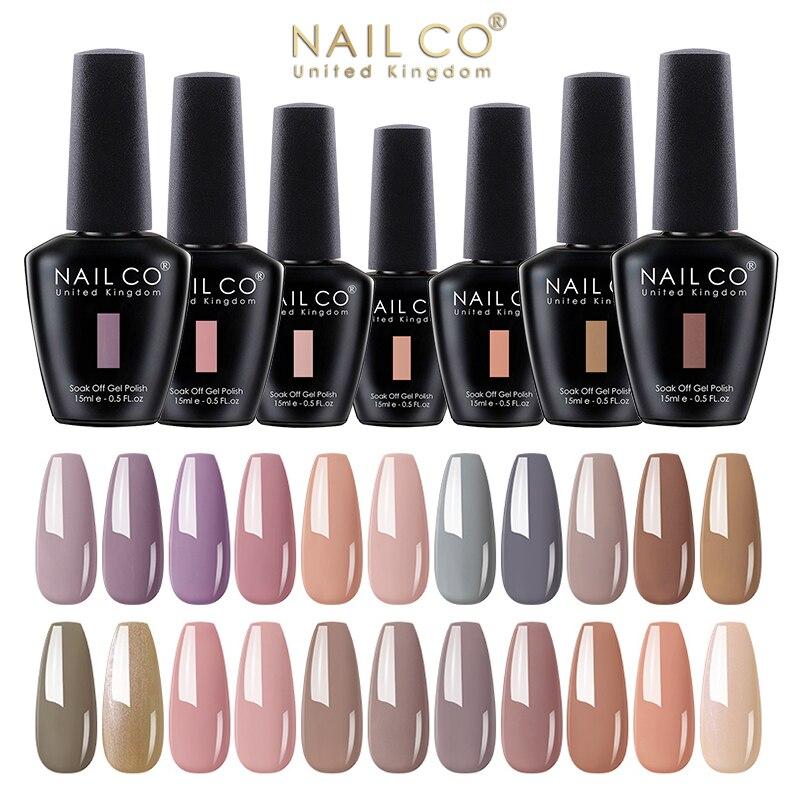 Nailco 15ml nude cores série led gel vernis unha polonês kit uv unhas gellak diy 2021 outono inverno arte do prego manicure design conjunto Gel para unhas    -