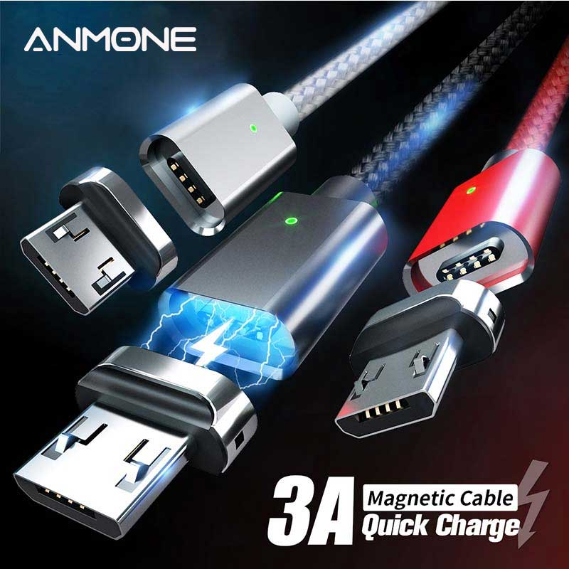 ANMONE Magnetic Cable Quick Charger Micro USB Cable 1m 2m Android Data Cord Magnet Charge for Mobile Phone Fast Charging Wire|Mobile Phone Cables|   - AliExpress