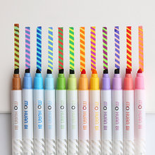 12 sztuk magia kolor pióro do rysowania zestaw odbarwione zakreślacz spot Liner długopisy sztuka scrapbookingu materiały papiernicze szkoła F809