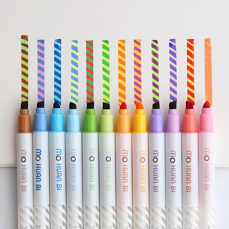 12pcs Magic color drawing pen set Discolored highlighter marker spot Liner pens Scrapbooking art supplies Stationery School F809