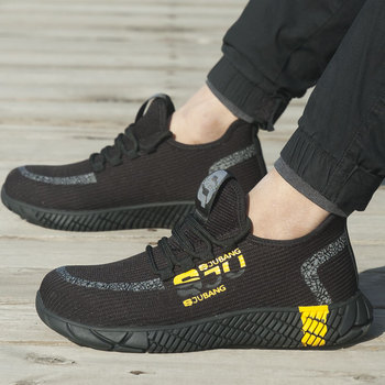 2020 New Breathable Mesh Safety Shoes Men Light Sneaker Indestructible Steel Toe Soft Anti piercing