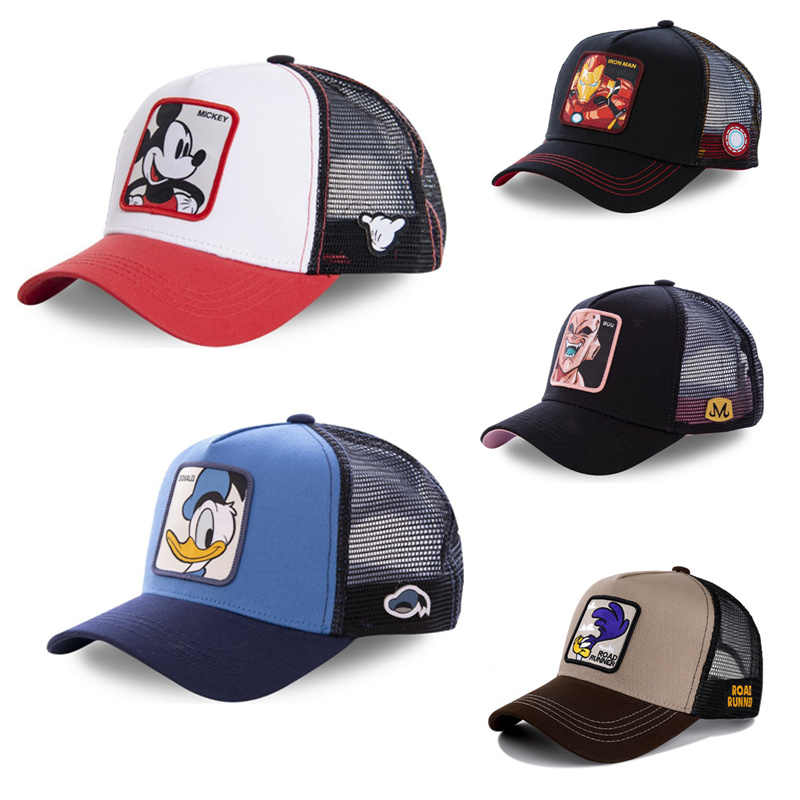 Mickey Donald Duck DRAGON BALL MARVEL Snapback Cap Katoen Baseball Cap Mannen Vrouwen Hip Hop Vader Mesh Hoed Trucker Dropshipping