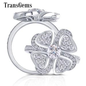 Image 1 - Transgems 18 18K ホワイトゴールド花の形センター 0.5ct F 色モアッサナイトの婚約指輪女性のためのアクセントと日常着