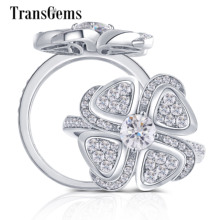 Transgems 18K White Gold Flower Shape Center 0.5ct F Color Moissanite Engagement Ring with Accents for Women Daily Wear