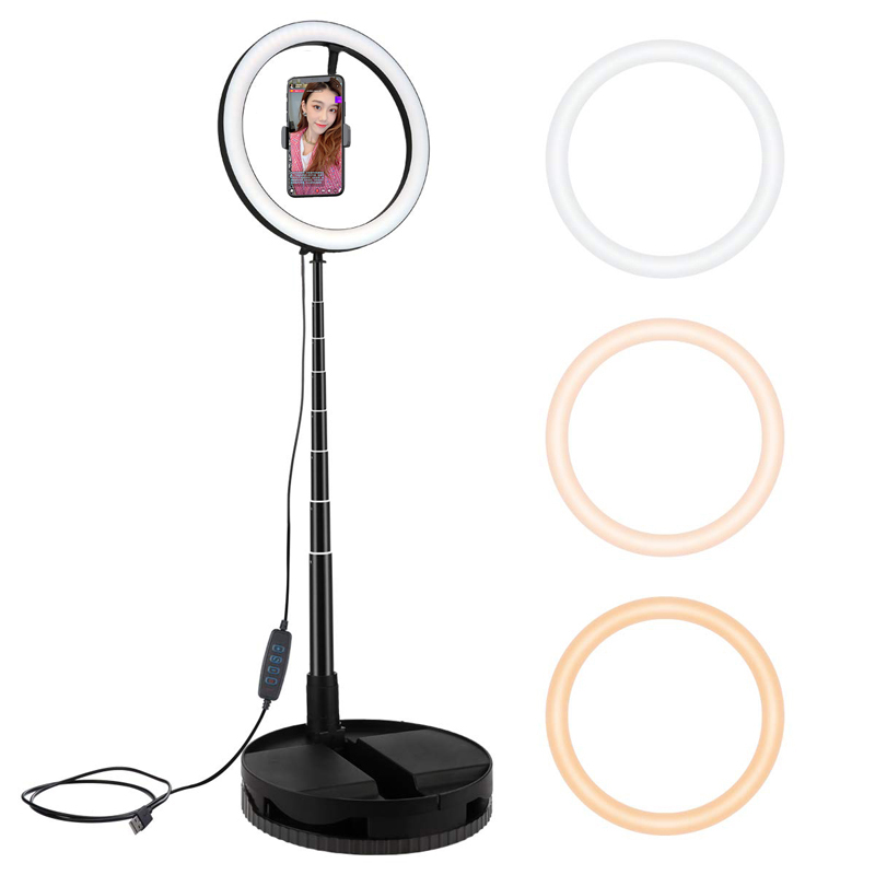 Video Light Dimmable LED Selfie Ring Light Stretchable168cm USB Ring Lamp Photography Light With Phone Holder For Makeup Youtube