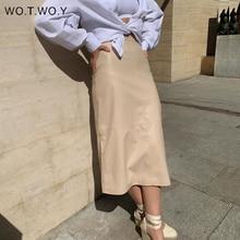 Skirt Office Lady WOTWOY Women Elegant Autumn High-Waist Solid Straight Mid-Calf Slim-Fit