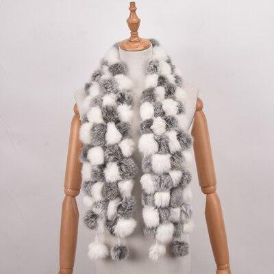 Women Genuine Fur Scarf Winter Real Rex Rabbit fur Balls Scarves Russia Cute Female Fashion Warm Fur Scarf Colourful(China)