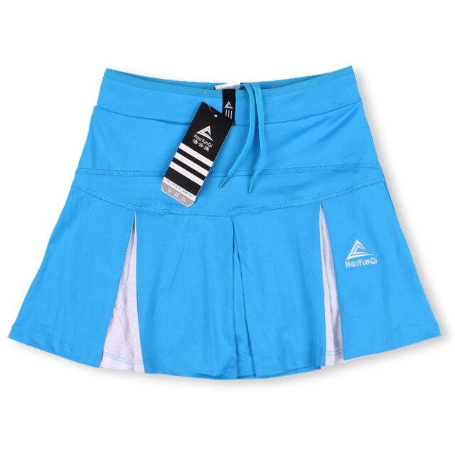 Спортивная теннисная юбка средней длины летняя быстросохнущая Дамская Сплит белая размера плюс тонкая фитнес Йога тонкая Беговая юбка - Цвет: Blue