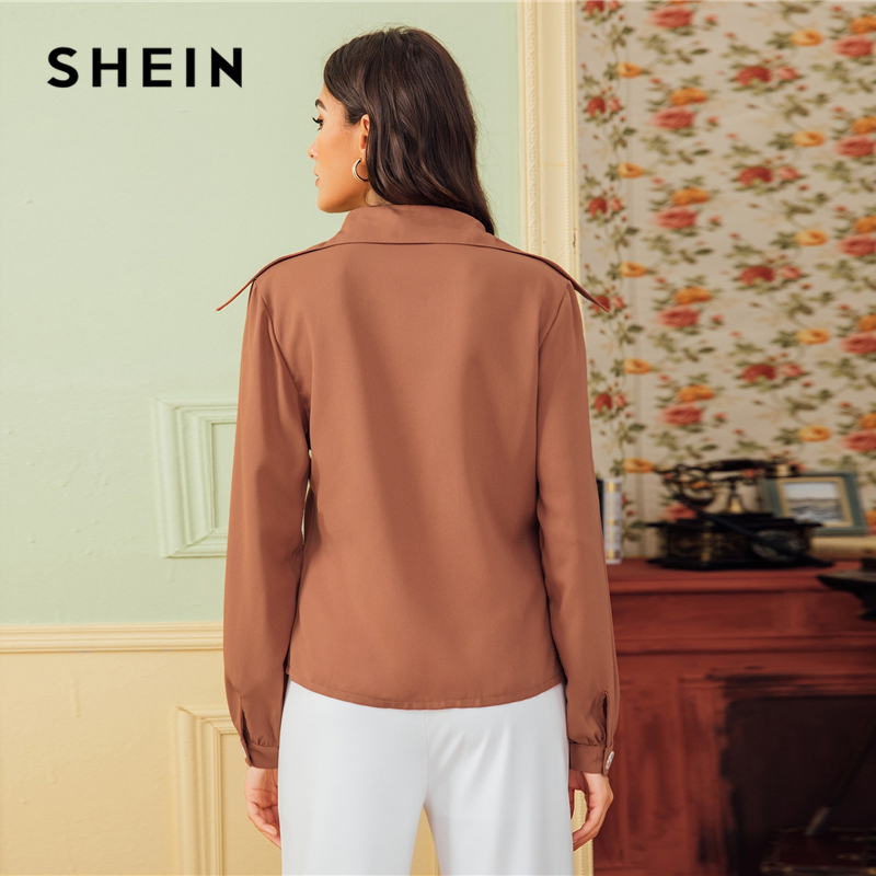 SHEIN Brown Solid Button Front Patched Pocket Blouse Shirt Women Tops 2019 Autumn Long Sleeve Basic Blouses For Office Ladies 2