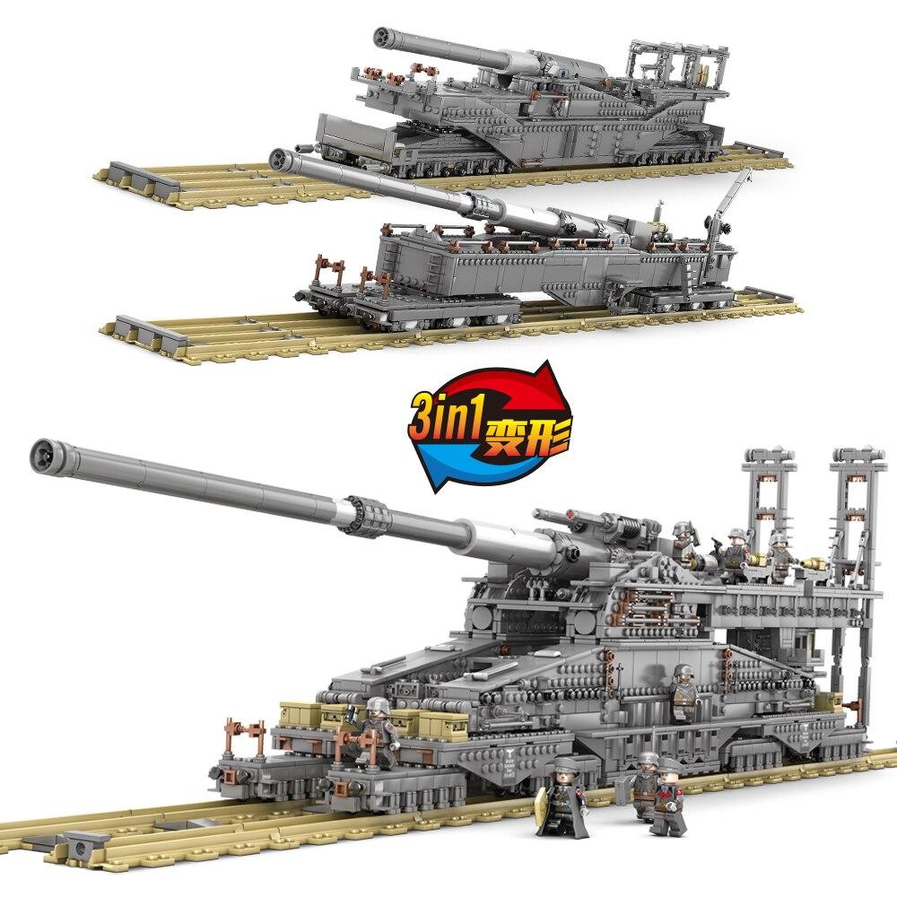KAZI KY10005 3846 stücke Große Militärischen kampf legoes bausteine Deutschland 800 mm Schwere Gustav zug gun erwachsene kinder geschenk spielzeug - 3