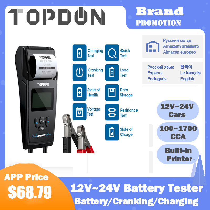 TOPDON BT500P 12V 24V Car Battery Tester with Printer Battery Load Test for Motorcycle Auto Charging Cranking Battery Analyzer