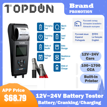 TOPDON BT500P 12V 24V Car Battery Tester with Printer Load Test for Motorcycle Auto Charging Cranking Analyzer