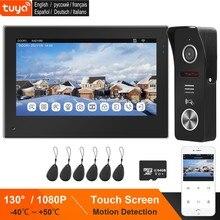 TUYA WIFI wideodomofon do domu bezprzewodowy IP drzwi domofon Monitor z ekranem dotykowym RFID/a dzwonek do drzwi 1080 do P Samrt telefon rozmowa odblokować