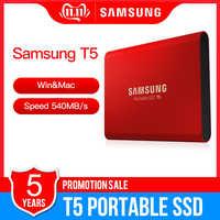 """Samsung Portable SSD T5 500GB 1TB externo estado sólido HD Disco Duro 1,8 """"Gen2 USB 3,1 (10 Gbps) para ordenador portátil de escritorio"""