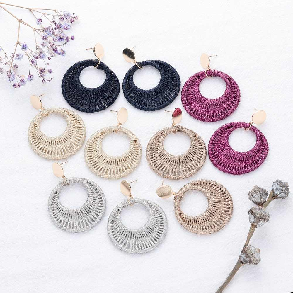 2019 5 Colors Woven Cotton Thread Round Earrings for Women Bohemian Statement Cotton Big Drop Earring Female Fashion Jewelry