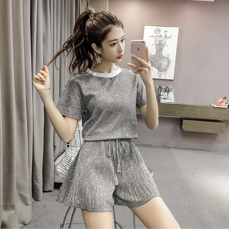 Women Two Piece Set 2019 Summer Casual Fashion Bright Tops High Waist Wide Leg Shorts Top Female Office Suit Set Women in Women 39 s Sets from Women 39 s Clothing