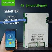 Lifepo4 Placa de protección de batería de litio inteligente BMS 4S, 3,2 v, UART, comunicación Bluetooth, Monitor de teléfono, 20A, 30A