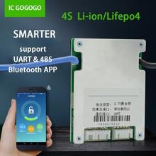 Smart BMS 4S 3.2v Lifepo4 Lipo Batteria Al Litio Protezione Bordo Bordo di Protezione di Comunicazione UART Bluetooth APP Del Telefono Monitor 20A 30A equilibrio