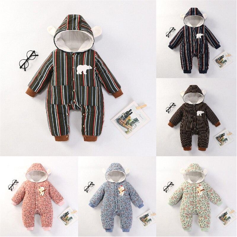 Новинка; детский зимний комбинезон; Детский комбинезон для мальчиков; комбинезон для новорожденных; теплая одежда для маленьких девочек; комбинезоны в полоску; шапка с медвежьими ушками|Ромперы|   | АлиЭкспресс