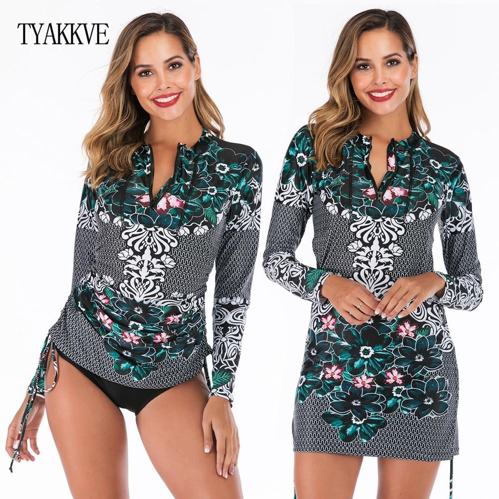 TYAKKVE 2019 Push Up Tankini Skirt Women Swimwear Plus Size 2 Piece Retro Print Bathing Suit Long Sleeve Swimdress Beachwear XXL