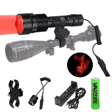 C12 500LM L2 U3 LED Aluminum Tactical Hunting Flashlight Green Rifle Gun Light+Press Remote Switch+Rail Barrel Mount(China)