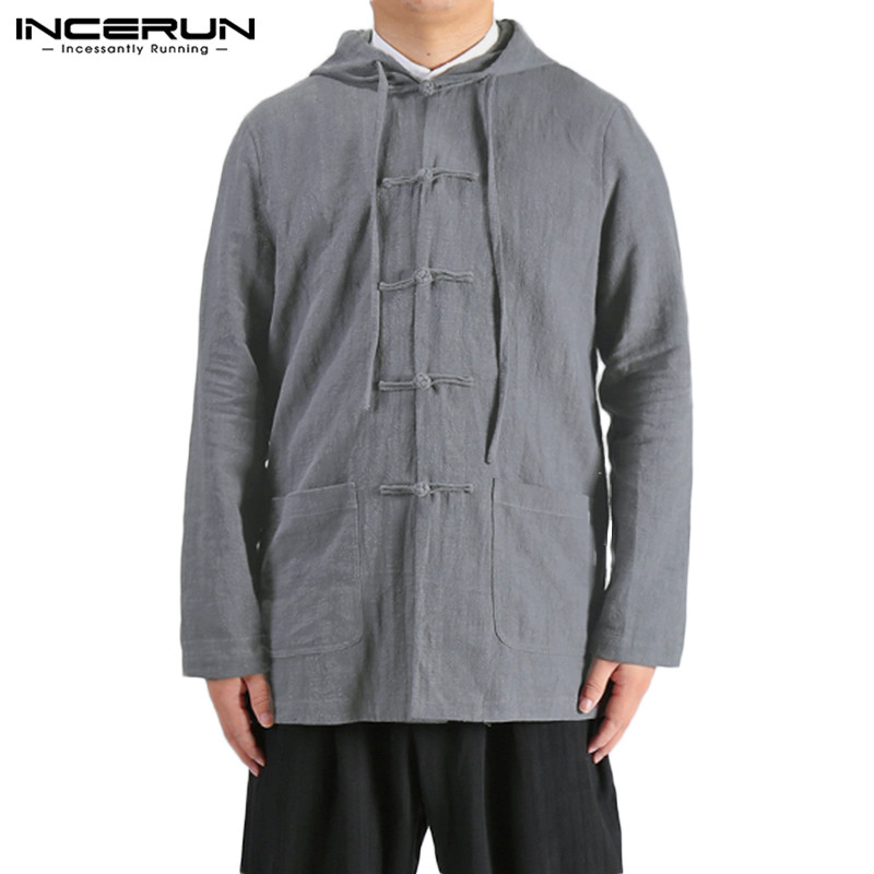 INCERUN Vintage Men's Shirt Chinese Style Cotton Hooded Solid Color 2019 Button Hanfu Tops Retro Long Sleeve Casual Men Shirts 7