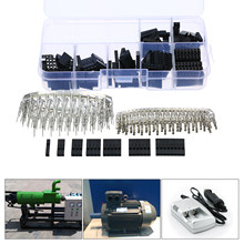 310 Pcs/set DuPont Kawat Jumper Pin Header Konektor Kit Pria Crimp Pins + Wanita Pin Terminal Konektor Pitch 2.54 Mm dengan Kotak(China)