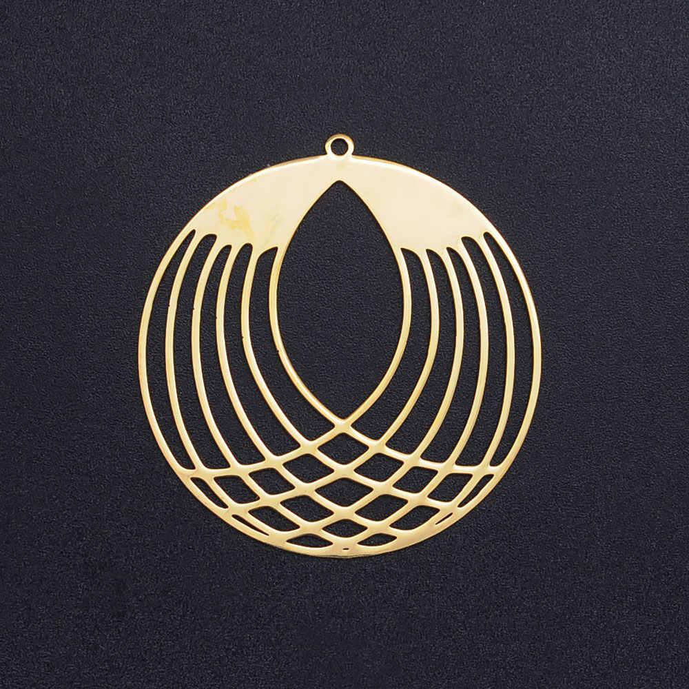 3 ピース/ロット 40 ミリメートル幾何ラウンドステンレス鋼の宝石のペンダントイヤリング DIY チャーム卸売メイキングチャームブレスレット