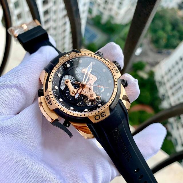 Riff Tiger/RT Designer Uhren für Männer Große Zifferblatt Komplizierte Uhr mit Perpetual Kalender Rubber Strap Uhr RGA3503