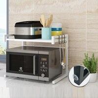 Telescopic Microwave Oven Kitchen Shelf Organizer Floor Household Rice Cooker Oven Shelf Kitchen Countertop Double Storage Rack