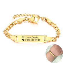 Kids Personalized Engrave Bracelets for Baby Anti Allergy Stainless Steel Custom Infant Baptism Gifts Jewelry(China)