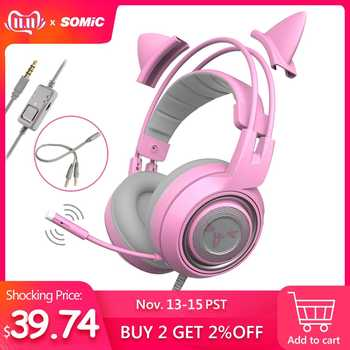 SOMIC G951s PS4 Pink Cat Ear Noise Cancelling Headphones 3.5mm Plug Girl Kids Gaming Headset with Microphone for Phone - DISCOUNT ITEM  32% OFF All Category