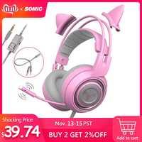 SOMIC G951s PS4 rose chat oreille bruit suppression écouteurs 3.5mm Plug fille enfants jeu casque avec Microphone pour téléphone