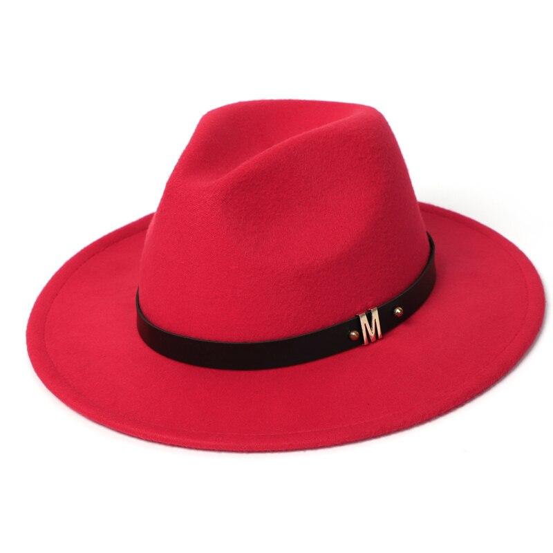 Man Fedora Hats Top Winter Imitation Wool Cap Women 2020 Autumn Classic Wide Brim Black Red Men Felt Hats Women 3