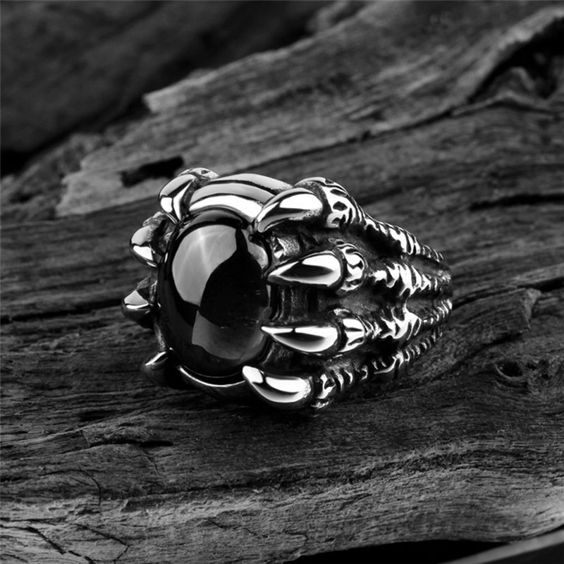 P2GO Industrial Ring with Duel ClearBlack CZ Stone Cat Pendants and AB Stone Heart in between Cat Pendants Gold 316L
