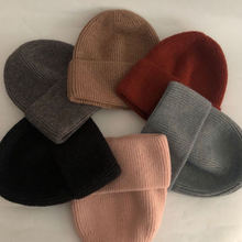 Повседневная новая зимняя шапка одноцветная шерстяная теплая