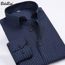 BOLUBAO, Брендовые мужские рубашки с длинным рукавом, топы, весна, новинка, мужская Тонкая деловая рубашка, повседневные полосатые рубашки для мужчин