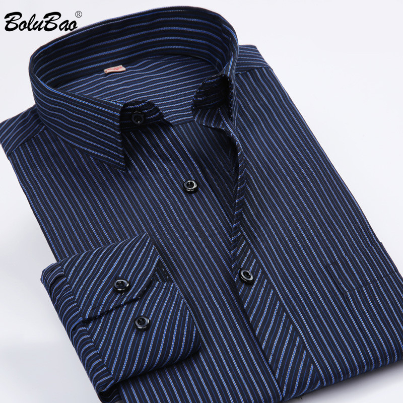 BOLUBAO Brand Men Long Sleeve Shirts New Men's Slim Business Shirt Casual Striped Shirts Wedding Dress Male Tuxedo Shirt