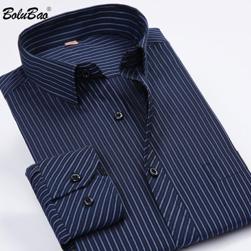 BOLUBAO Brand Men Long Sleeve Shirts New Men's Slim Business Shirt Casual Striped Shirts Wedding Dress Male Tuxedo Shirt