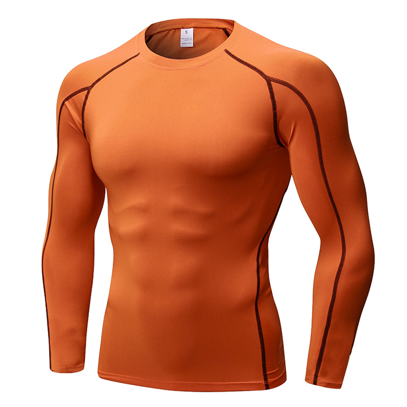 Men's training pro sports fitness running long sleeve sweat wicking quick drying clothes long sleeve shirt T-shirt Top Clothing