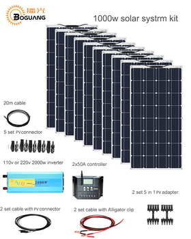 Boguang 1000w Solar System Kit 10*100W solar panel module 50A controller 2000w inverter adapter connector battery power charge 50a solar panel battery charge solar high power positive high voltage ideal diode controller anti reverse irrigation protection