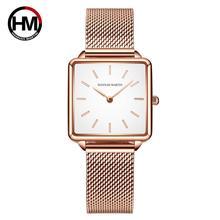 Japan Beweging Daling Verzending Vrouwen Rose Goud Eenvoudige Mode Toevallige Merk Horloge Luxe Dame Vierkante Horloges Relogio Feminino