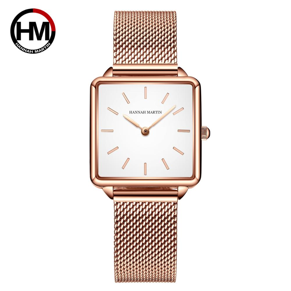 Japan Movement Drop Shipping Women Rose Gold Simple Fashion Casual Brand Wristwatch Luxury Lady Square Watches Relogio Feminino