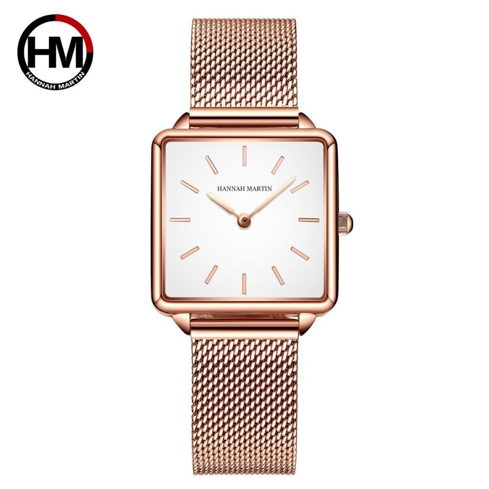Japan Movement Drop Shipping Women Rose Gold Simple Fashion Casual Brand Wristwatch Luxury Lady Square Watches Relogio Feminino